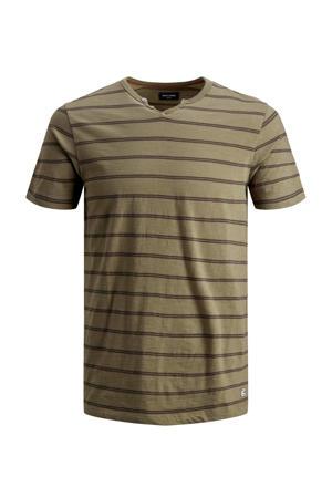 gestreept T-shirt bruin