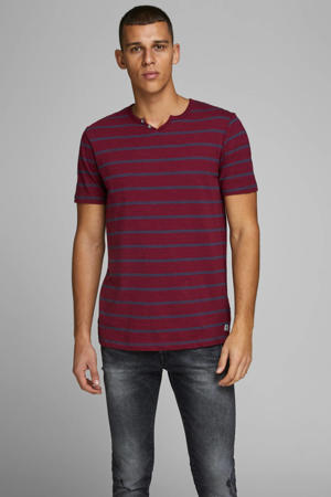 gestreept T-shirt rood/donkerblauw