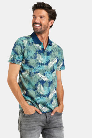 slim fit polo met all over print navy