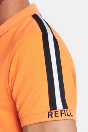 slim fit polo Elbert met contrastbies oranje