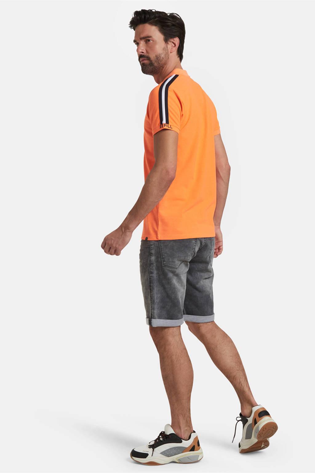 Refill by Shoeby slim fit polo Elbert met contrastbies oranje, Oranje