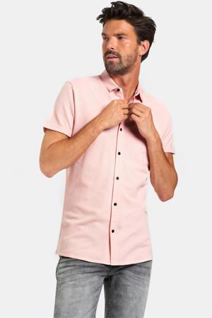 slim fit overhemd met textuur lichtroze