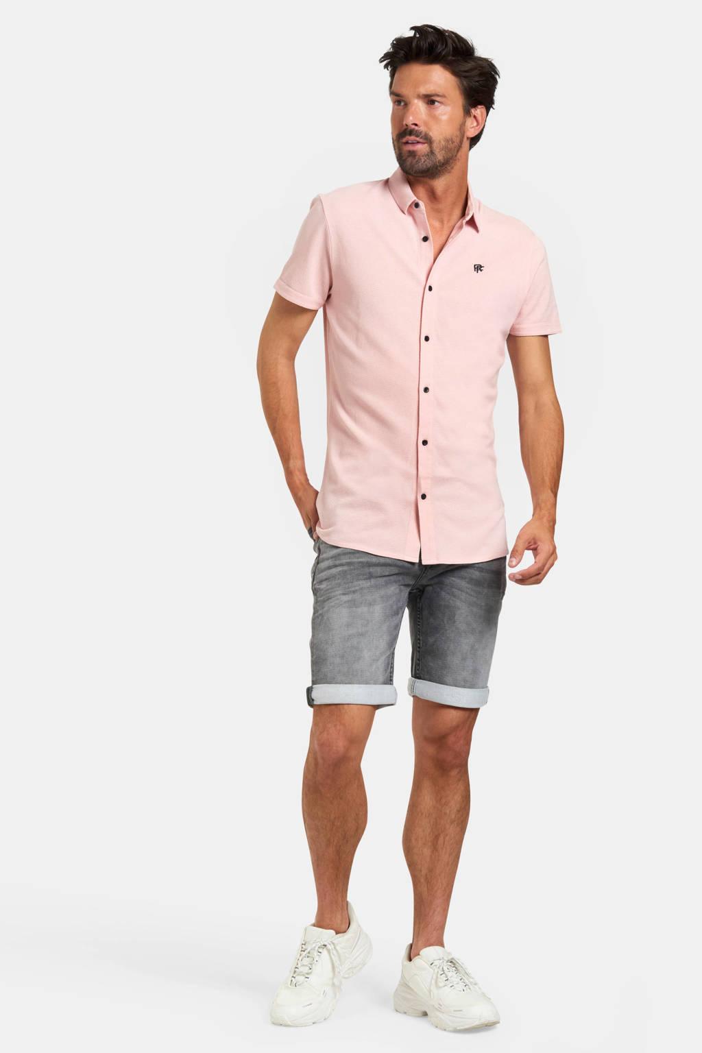 Refill by Shoeby slim fit overhemd Onel met textuur lichtroze, Lichtroze