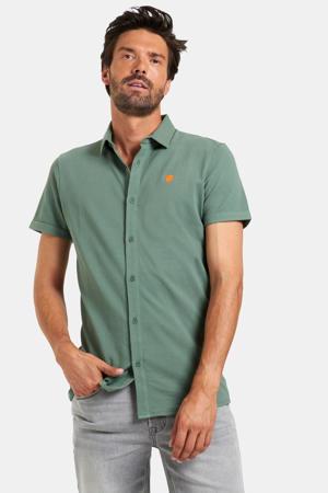 slim fit overhemd Onel met textuur groen