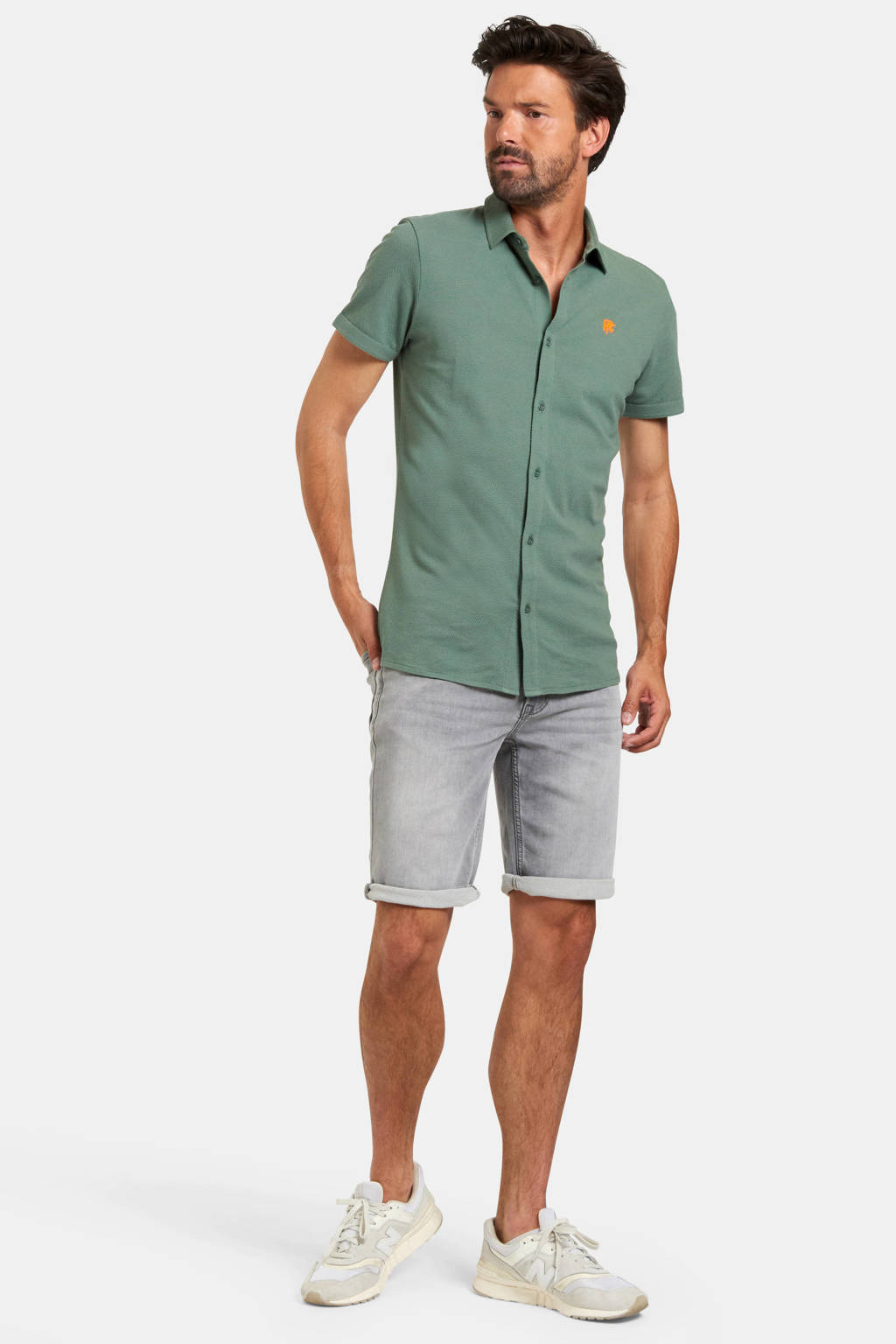 Refill by Shoeby slim fit overhemd Onel met textuur groen, Groen