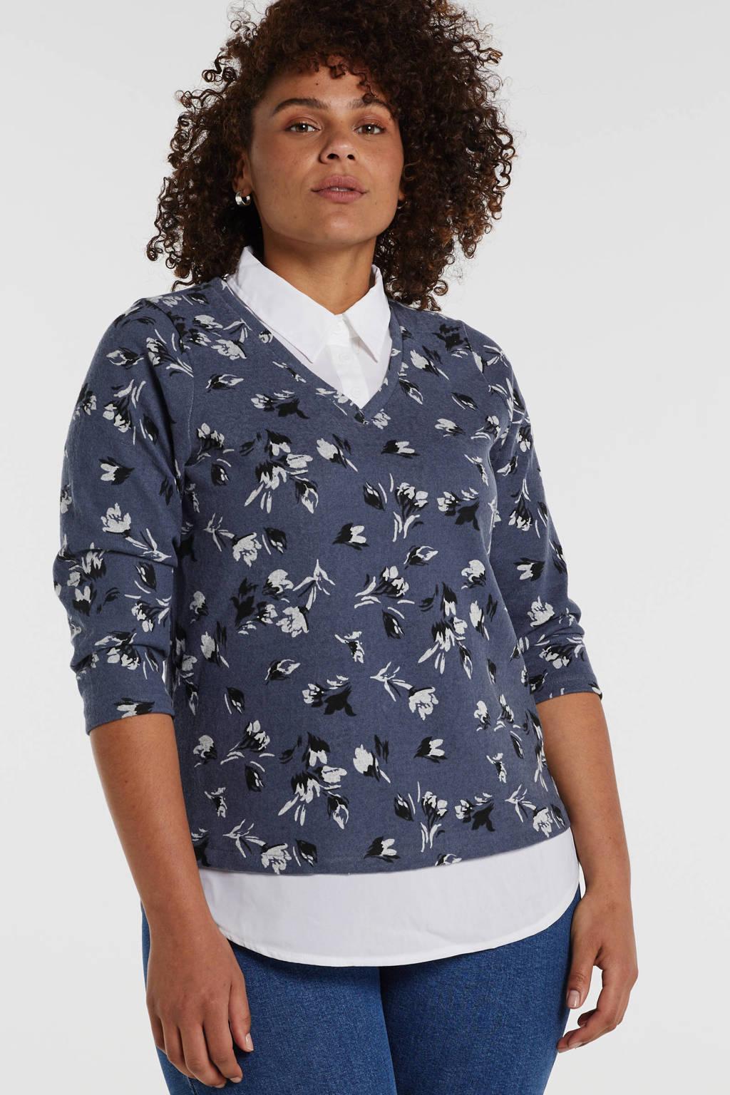 Zhenzi trui met all over print blauw, Blauw