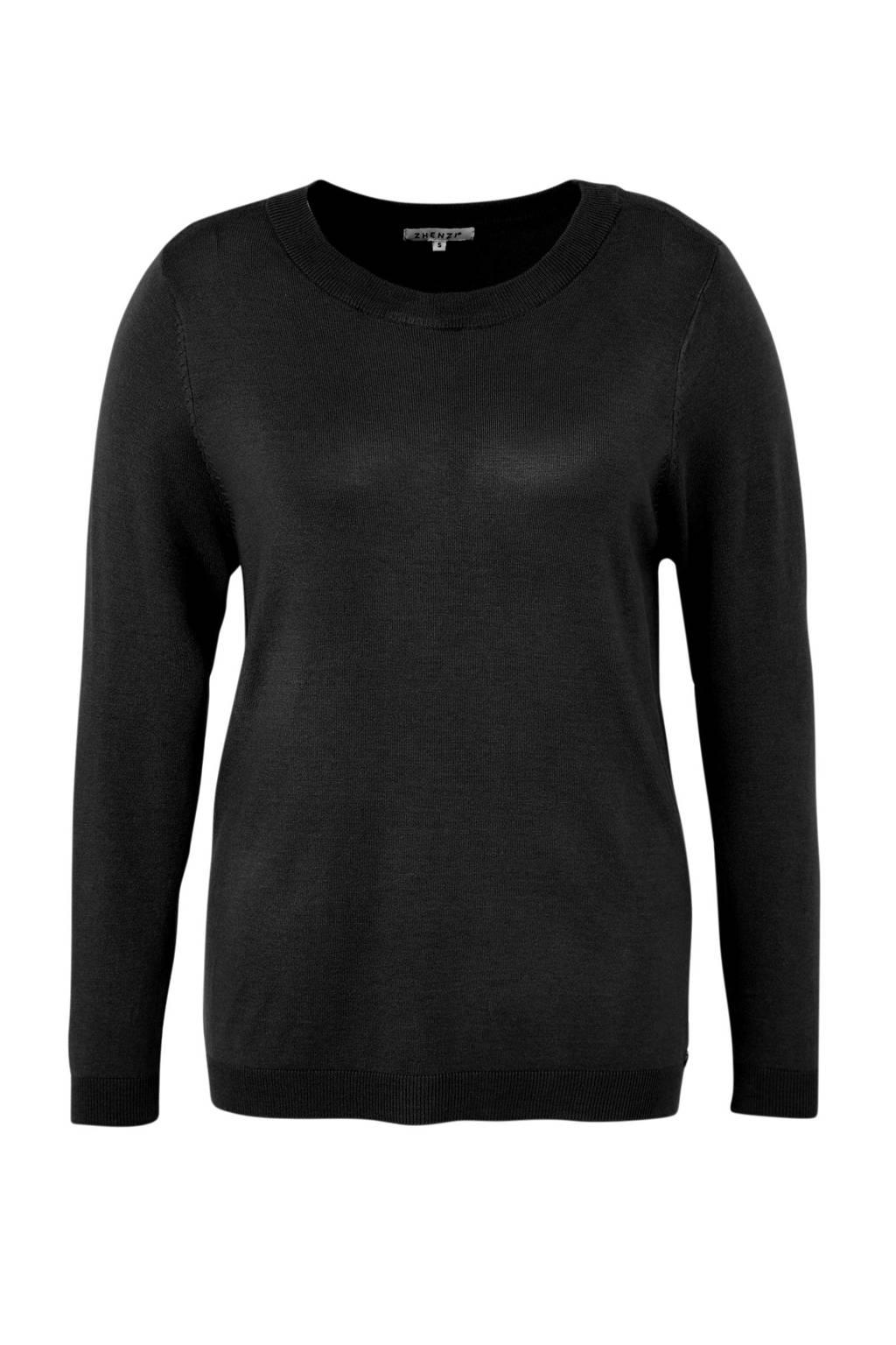 Zhenzi fijngebreide trui zwart, Zwart