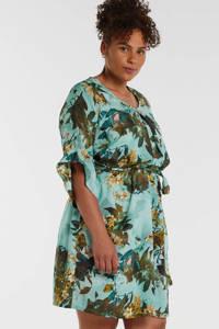 Zhenzi jurk met all over print en ruches blauw/multi, Blauw/multi