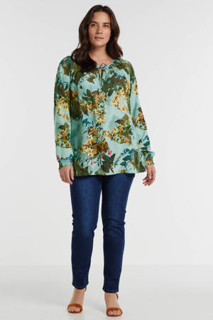 top met all over print blauw/multi