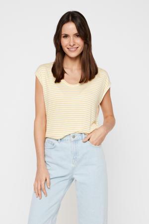 gestreept T-shirt geel/wit