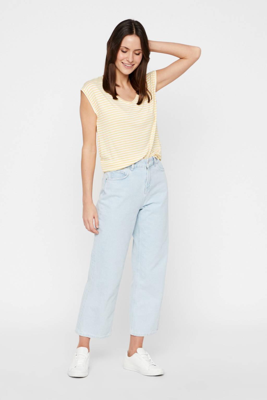 PIECES gestreept T-shirt geel/wit, Geel/wit