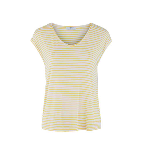 PIECES gestreept T-shirt geel/wit