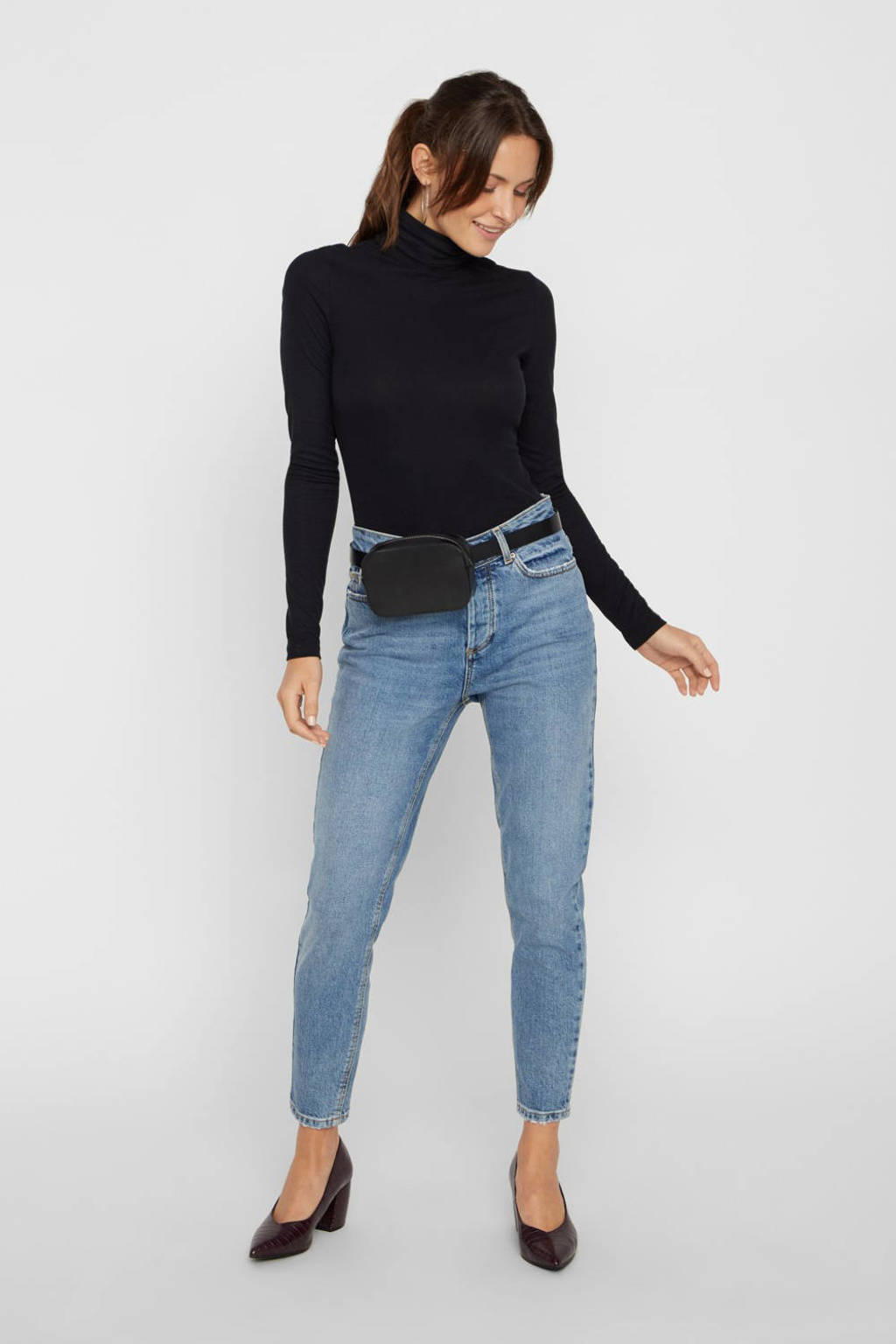 PIECES high waist slim fit jeans blauw, Blauw