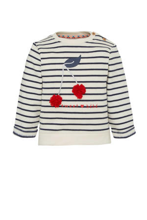 gestreepte sweater van biologisch katoen ecru/donkerblauw/rood
