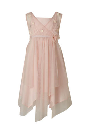 jurk met 3D applicatie lichtroze/ecru
