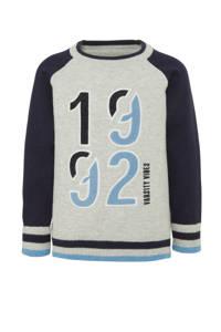 C&A Palomino fijngebreide trui met tekst en borduursels lichtgrijs/donkerblauw/lichtblauw, Lichtgrijs/donkerblauw/lichtblauw