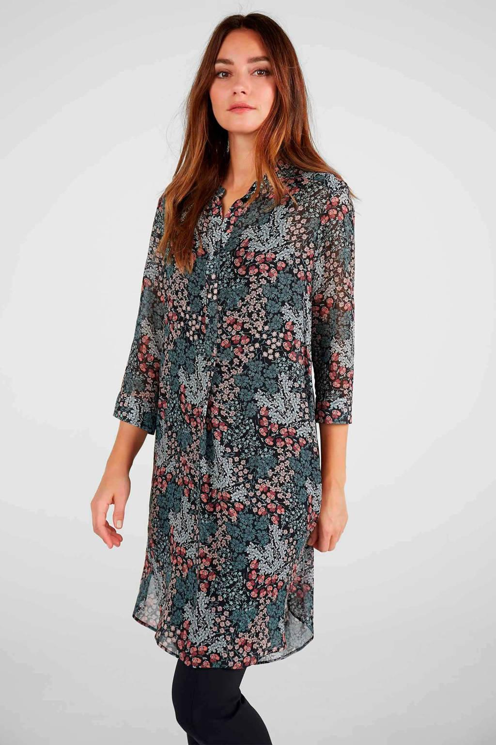Expresso semi-transparante blousejurk met all over print groen/roze, Groen/roze