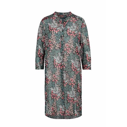 Expresso semi transparante blousejurk met all over print groen roze