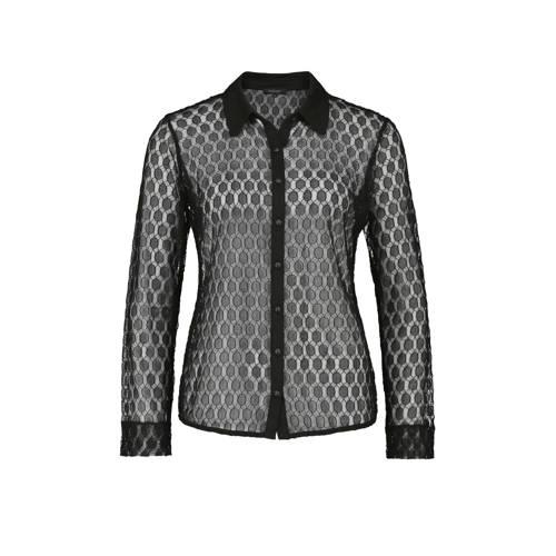 Claudia Str??ter kanten blouse met stippen zwart