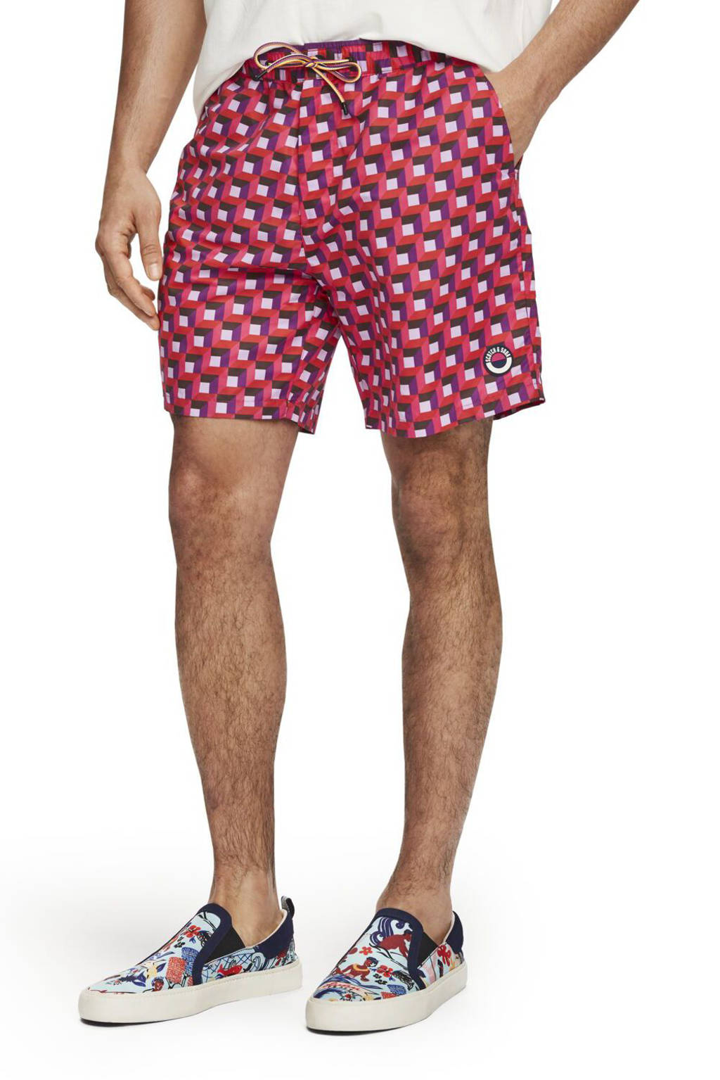 Scotch & Soda zwemshort met all over print rood/paars/wit
