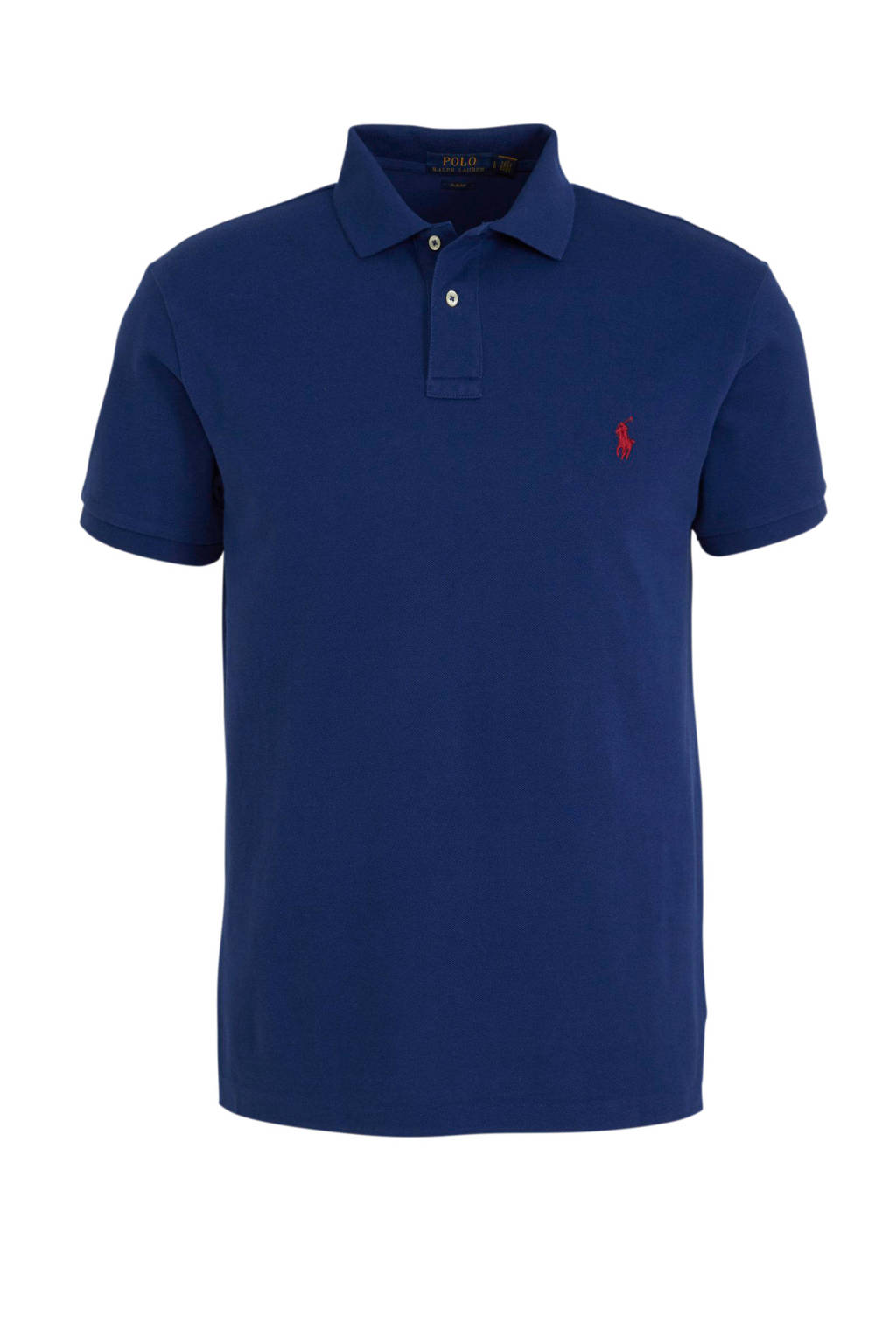 POLO Ralph Lauren slim fit polo donkerblauw, Donkerblauw/rood