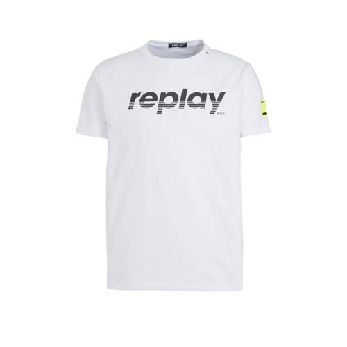 REPLAY T-shirt met logo wit