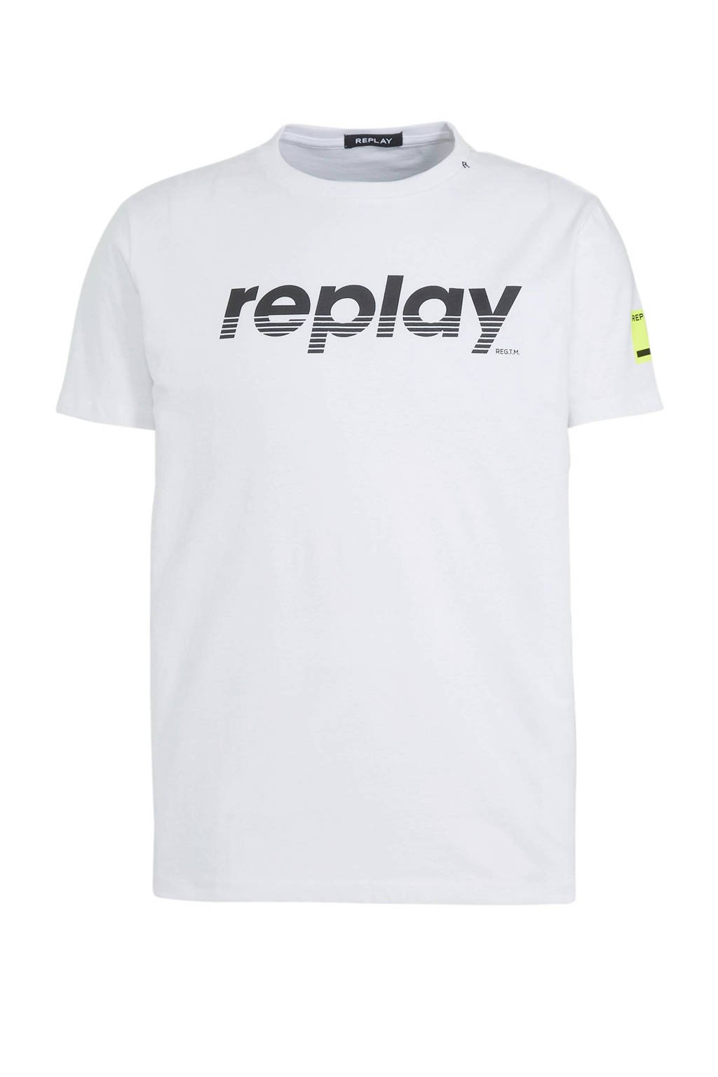 REPLAY T-shirt met logo wit, Wit