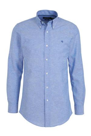 slim fit overhemd met linnen lichtblauw