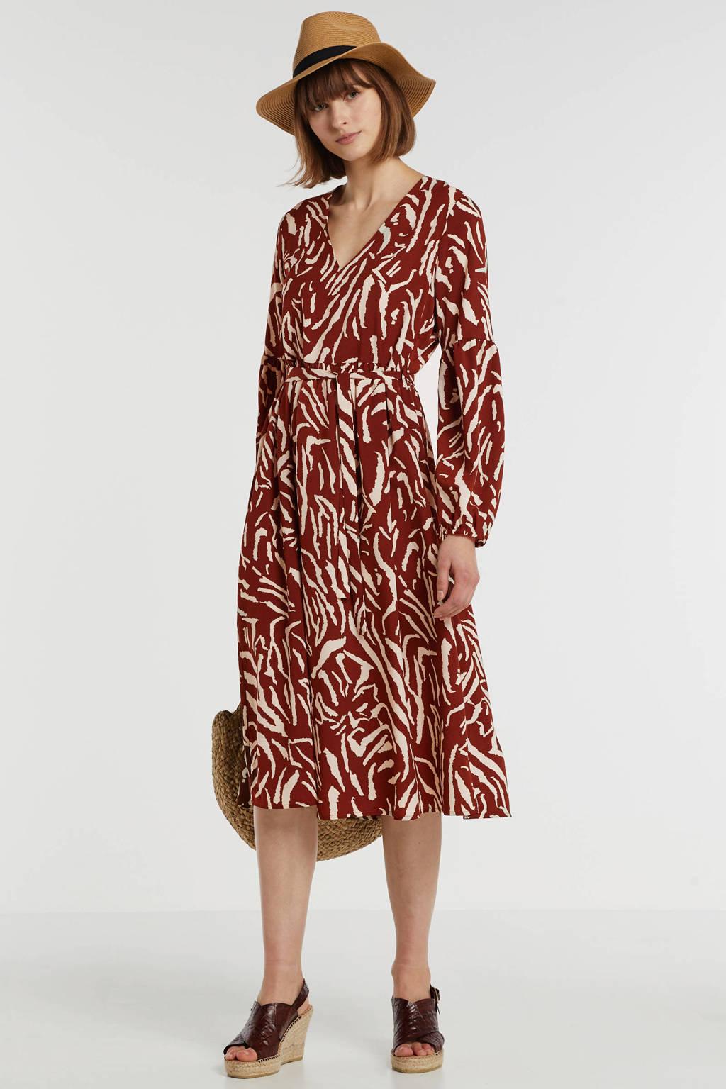 VILA geweven jurk met all over print en ceintuur ecru/rood, Ecru/rood