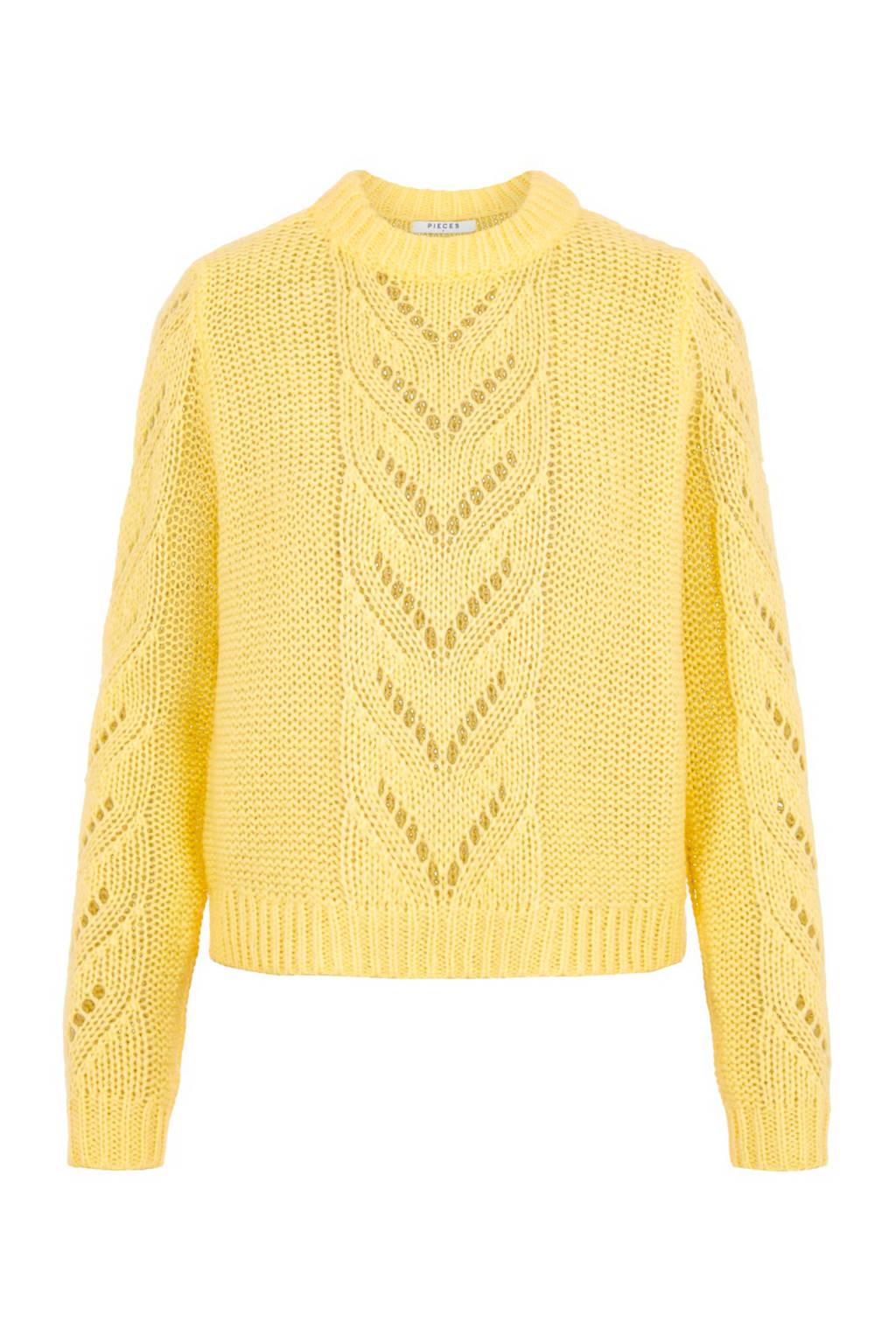PIECES trui met open detail geel, Geel