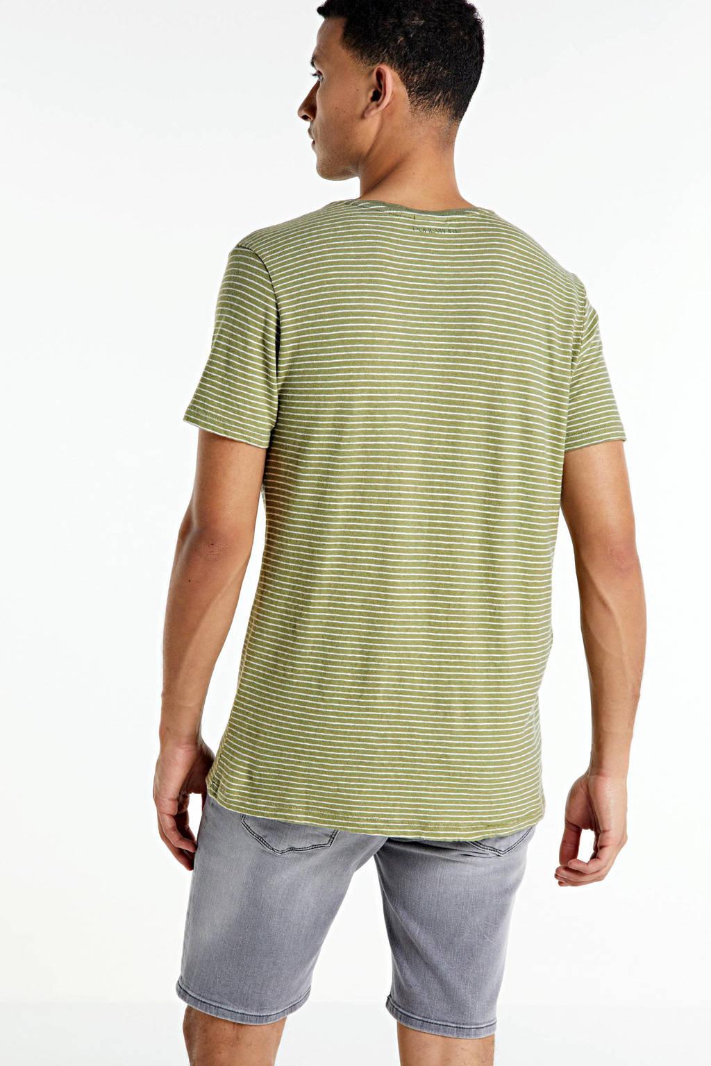 Purewhite gestreept T-shirt groen, Groen