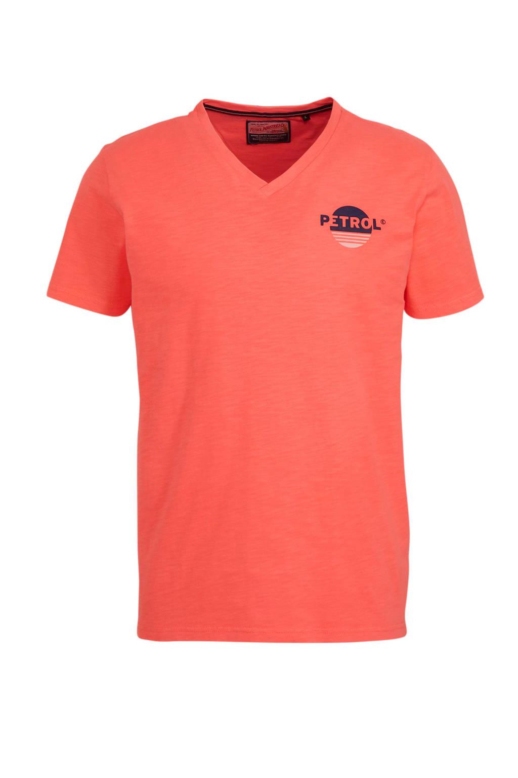 Petrol Industries T-shirt met printopdruk koraalrood, Koraalrood