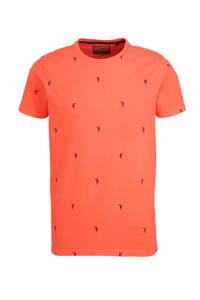 Petrol Industries T-shirt met all over print koraalrood, Koraalrood