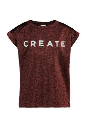 T-shirt Garcelie met tekst en glitters koper/wit