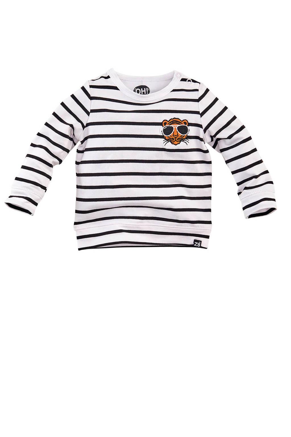Z8 longsleeve Stockholm streep wit/zwart/oranje, Wit/zwart/oranje