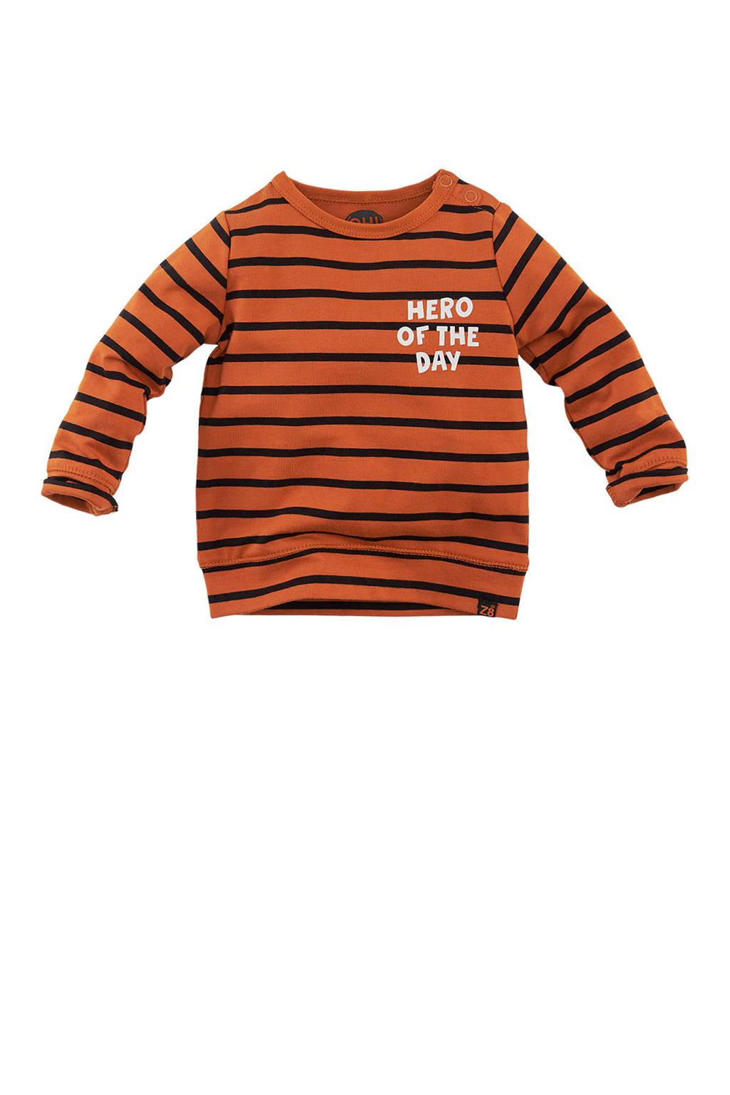Z8 longsleeve Tunis streep bruin/zwart/wit, Donker oranje/zwart/wit