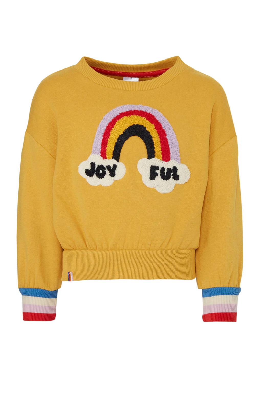 C&A Palomino sweater met printopdruk en 3D applicatie okergeel/lila/rood, Okergeel/lila/rood