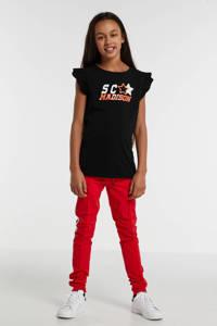 Street called Madison T-shirt Lady Luna met printopdruk en glitters zwart/oranje/wit, Zwart/oranje/wit