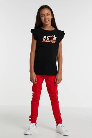 T-shirt Lady Luna met printopdruk en glitters zwart/oranje/wit