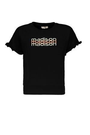 T-shirt Yes Luna met printopdruk zwart