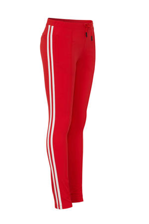 high waist slim fit broek No Mercy met zijstreep rood/wit