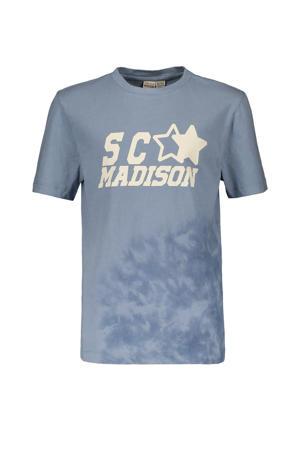 T-shirt Hey Charlie met tekst lichtblauw