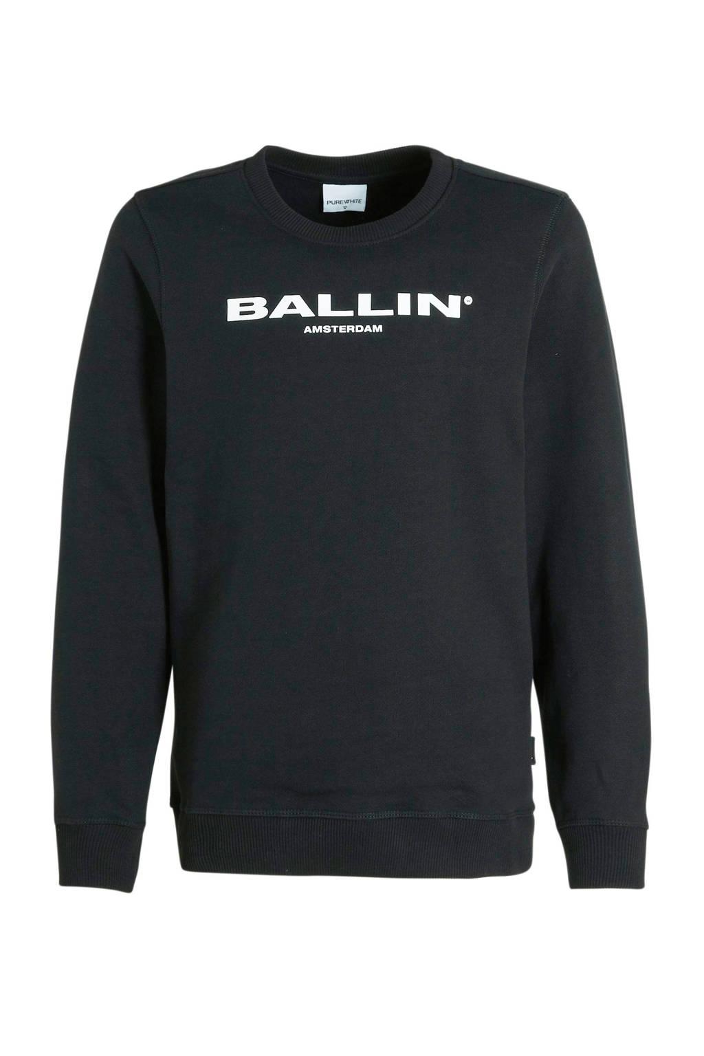 Ballin Amsterdam Junior by Purewhite sweater met logo zwart/wit, Zwart/wit