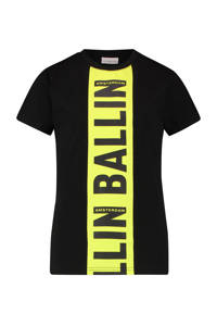 Ballin Amsterdam Junior by Purewhite T-shirt met tekst zwart/geel, Zwart/geel