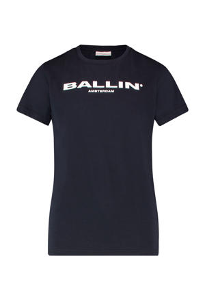 T-shirt met tekst donkerblauw/wit
