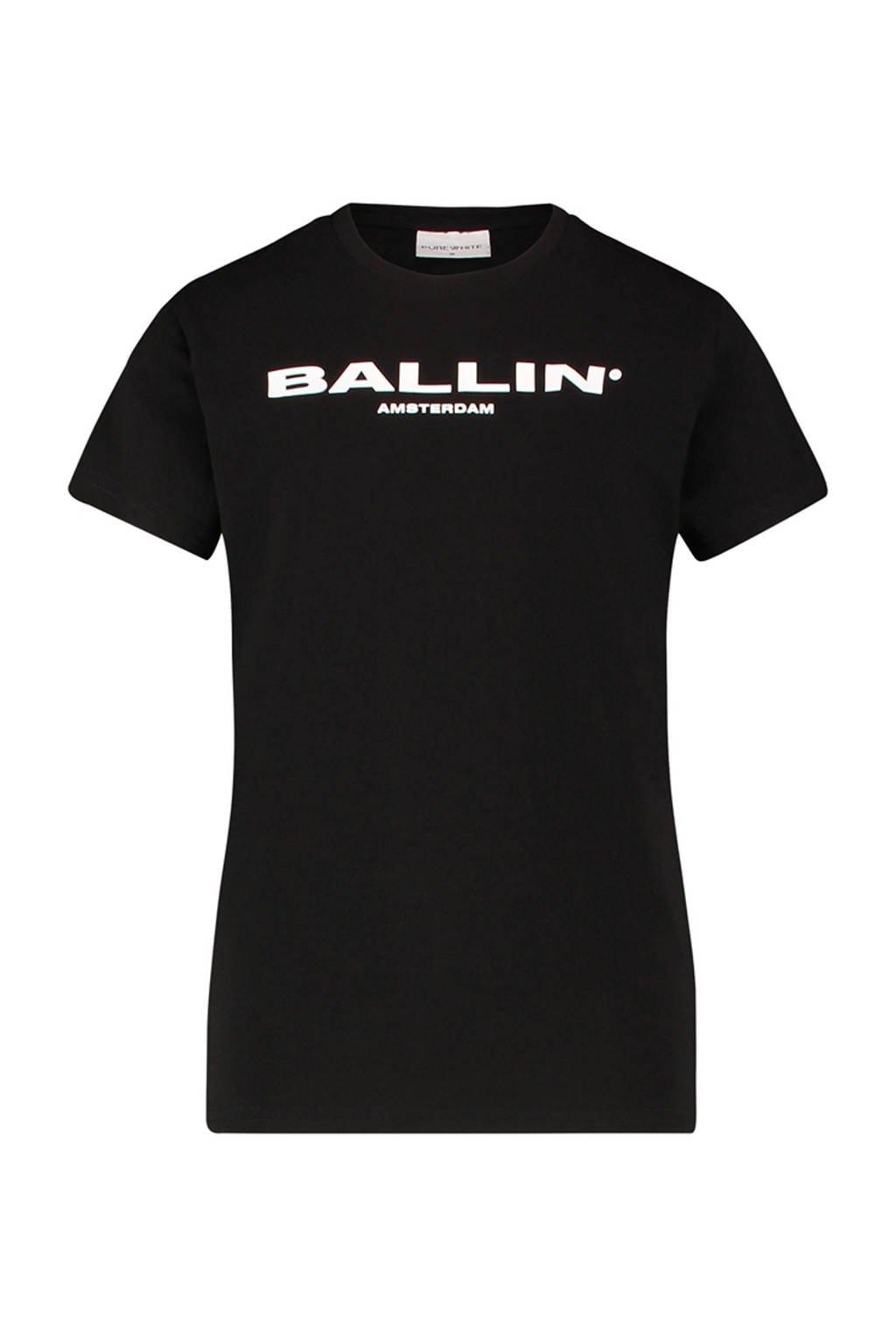Ballin Amsterdam Junior by Purewhite T-shirt met tekst zwart/wit, Zwart/wit