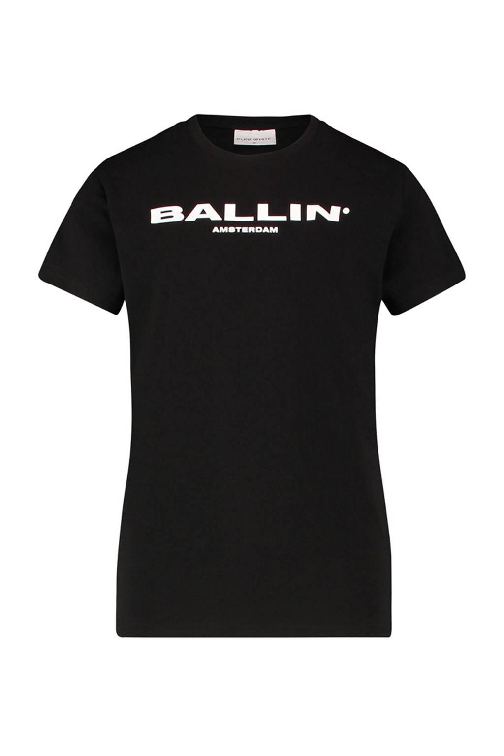 Ballin unisex T-shirt met tekst zwart/wit, Zwart/wit