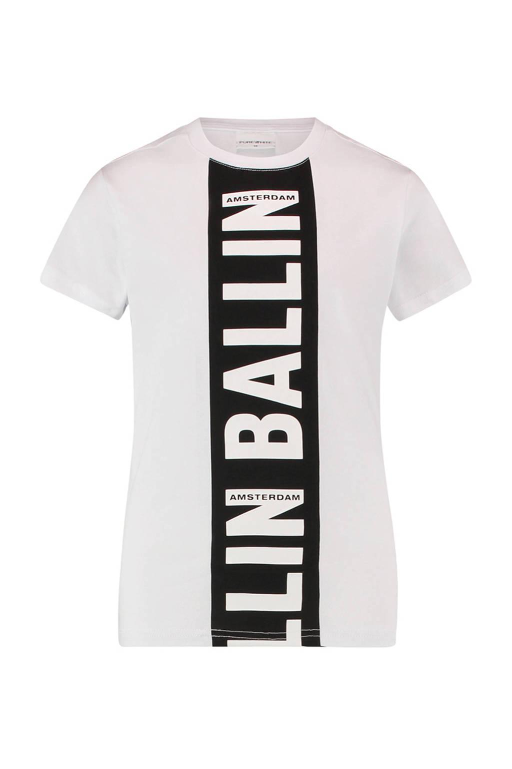 Ballin Amsterdam Junior by Purewhite T-shirt met tekst wit/zwart, Wit/zwart