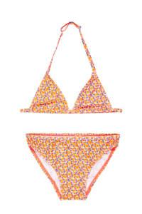 NAME IT KIDS triangel bikini met all over print oranje, Oranje