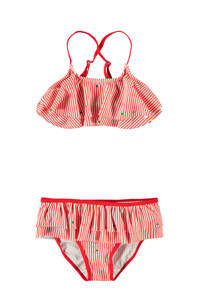 NAME IT KIDS gestreepte bikini Zinita met ruches rood/wit, Rood/wit